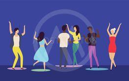People Moving on Dance Floor, Nightclub Vector