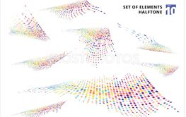 Set of abstract colorful halftone texture distortion wave...