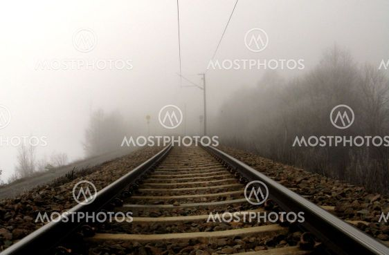Railroad in fog