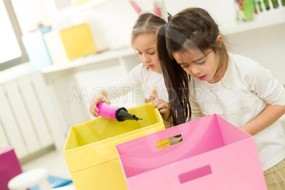 Little girls in kindergarten