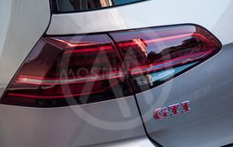 rear light and GTI sign on grey Volkswagen Golf GTI...
