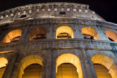 Coliseum in Italy closeup