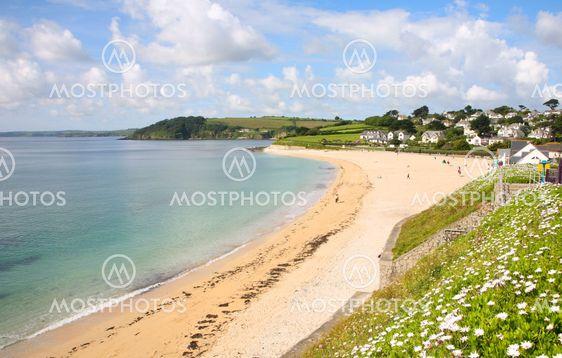 Gyllyngvase strand i sommer, Falmouth, Cornwall.