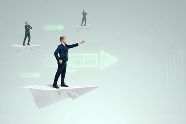 Startup. Businessman flying on a paper airplane and...