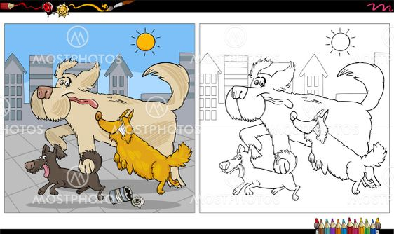 cartoon running dogs group coloring book page