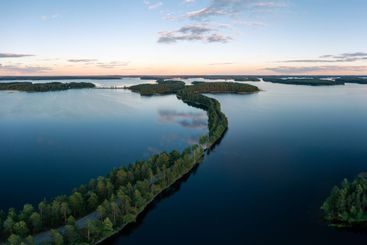 Aerial drone view of Punkaharju nature reserve