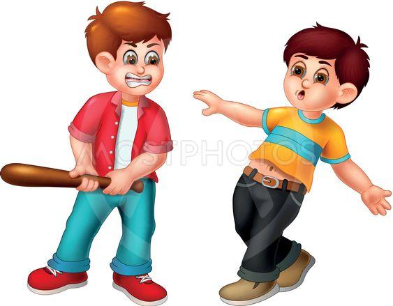 Cute Boy Cartoon Fighting O By Sujono Sujono Mostphotos