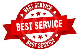 best service ribbon. best service round red sign. best...