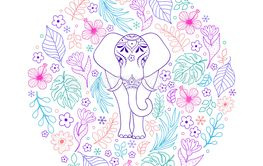 elephant and tropical flowers