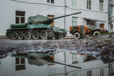 Tanks with reflection in Lviv
