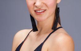 Sexy fashion brunette woman in black bathing suit