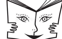 Vektor, illustration av bok med glatt ansikte och händer.