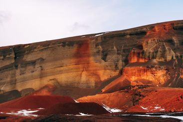 Martian landscapes in Iceland. The red crater of The...