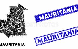 Mosaic Mauritania Map and Grunge Rectangle Watermarks