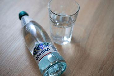 Glass bottle of Borjomi sparkling Georgian mineral water