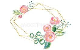 Watercolor floral frame with golden bronze border -...