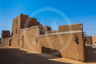 Traditional Arab mud brick architecture in Al Majmaah