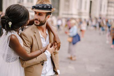 Interracial wedding couple. Wedding in Florence, Italy....