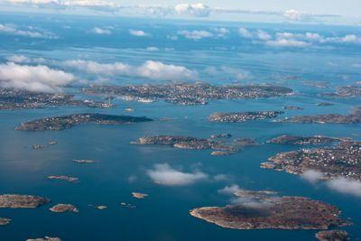 Göteborg archipelago from above - ferry to Hönö