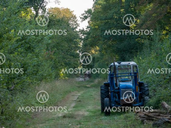 Abandoned blue tractor