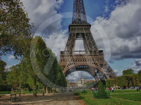 Clouds over Eiffel Tower in Paris