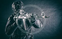 Counter terrorism forces soldier aiming with rifle