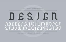 Vector creative font - retro ancient design. Modern...