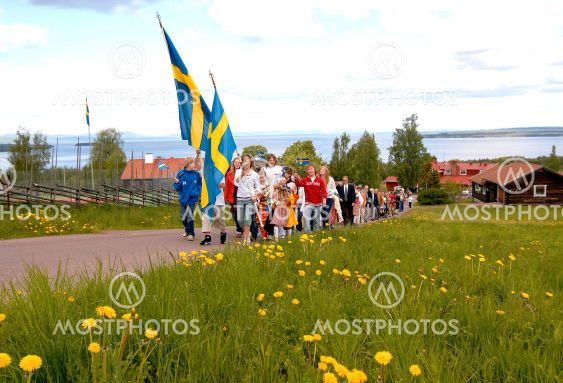 Procession with children and flags