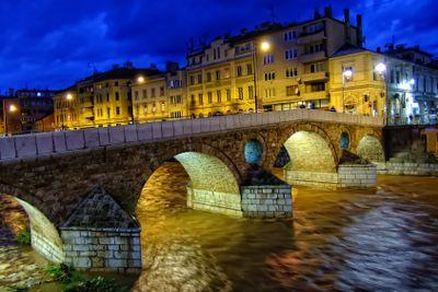 Latin Bridge on Miljacko river at night, Sarajevo, Bosnia...