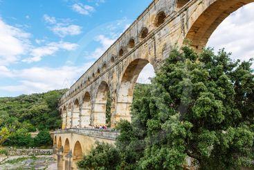 Pont du Gard, an old Roman aqueduct near Nimes in...