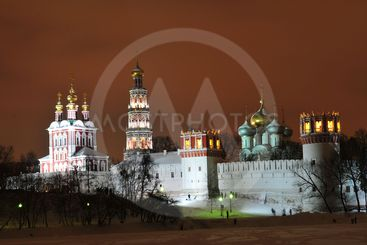 Novodevichy Convent at Night, Winter-time, Moscow