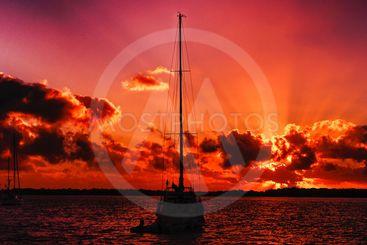 Vivid Crimson Sky Sunrise Seascape Australia