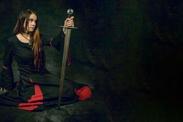 woman holding sword