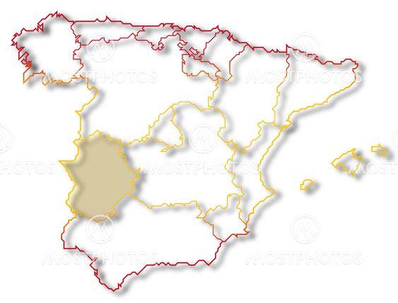 Map Of Spain Extremadura.Map Of Spain Extremadura H By Steffen Hammer Mostphotos