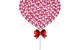 illustration of pink and white lolipop heart made of swee