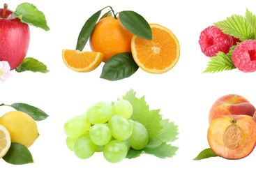 Food collection fruits apple orange grapes apples...