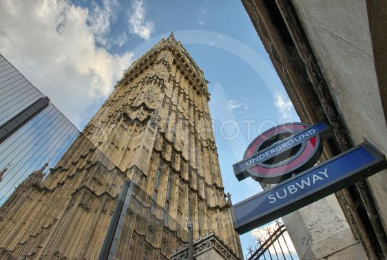 LONDON - SEP 27 : The 'Underground' sign and 'Big Ben'...