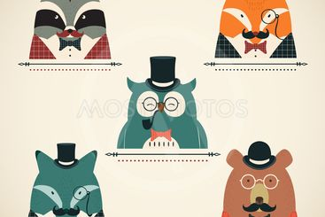 Set of vintage animals in suits