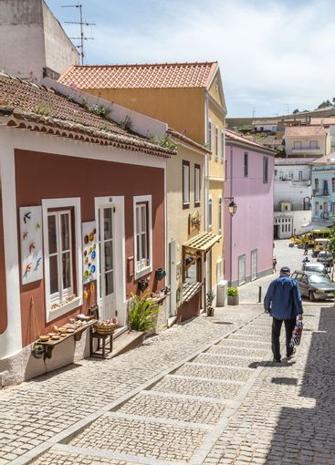 Street view old center of Monchique in the Algarve in...
