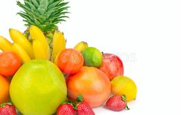 Fruits isolated on white background. Wide photo. Free...