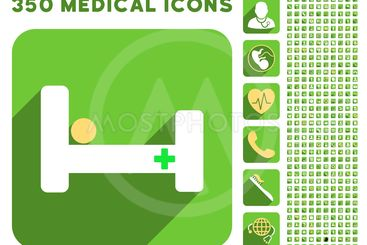 Hospital Bed Icon and Medical Longshadow Icon Set