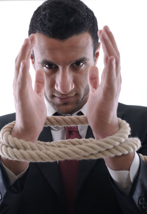 Stripped businessman bound gagged and lashed