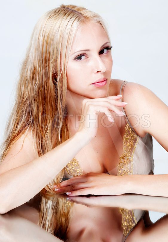 beautiful blonde portrait in studio