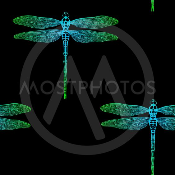 seamless pattern from gradient dragonfly on black...