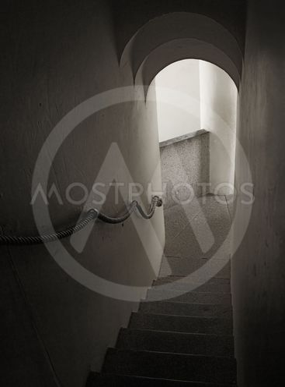 Narrow medieval stairway
