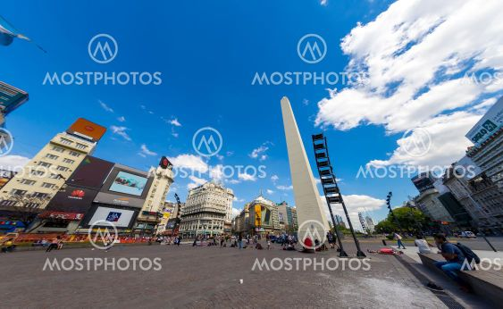 View on the famous Obelisco in Buenos Aires