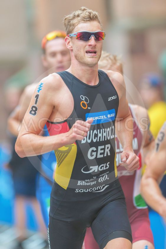 Gregor Buchholz (GER) running at the Mens ITU Triathlon...
