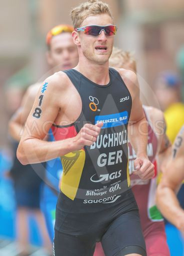 Gregor Buchholz (GER) running at the Mens ITU Triathlon...