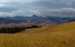 Ukrainian Carpathian Mountains. Autumn. Panorama.