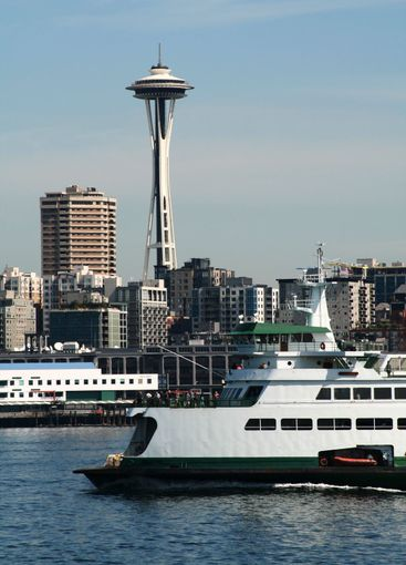 Seattle Ferry with skyline in the background